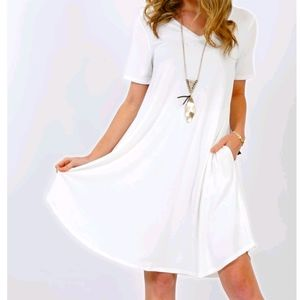 Women's V Neck Pocket Tunic Swing Midi Dress